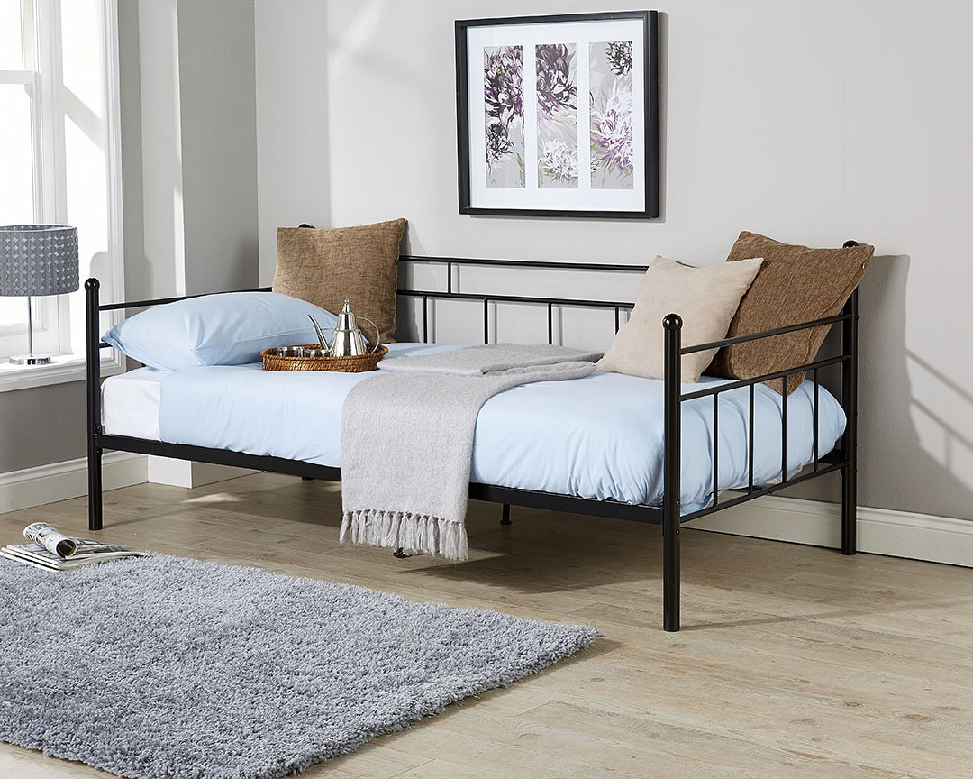 ARIZONA Black 3ft Single Metal Day Bed Modern Contemporary