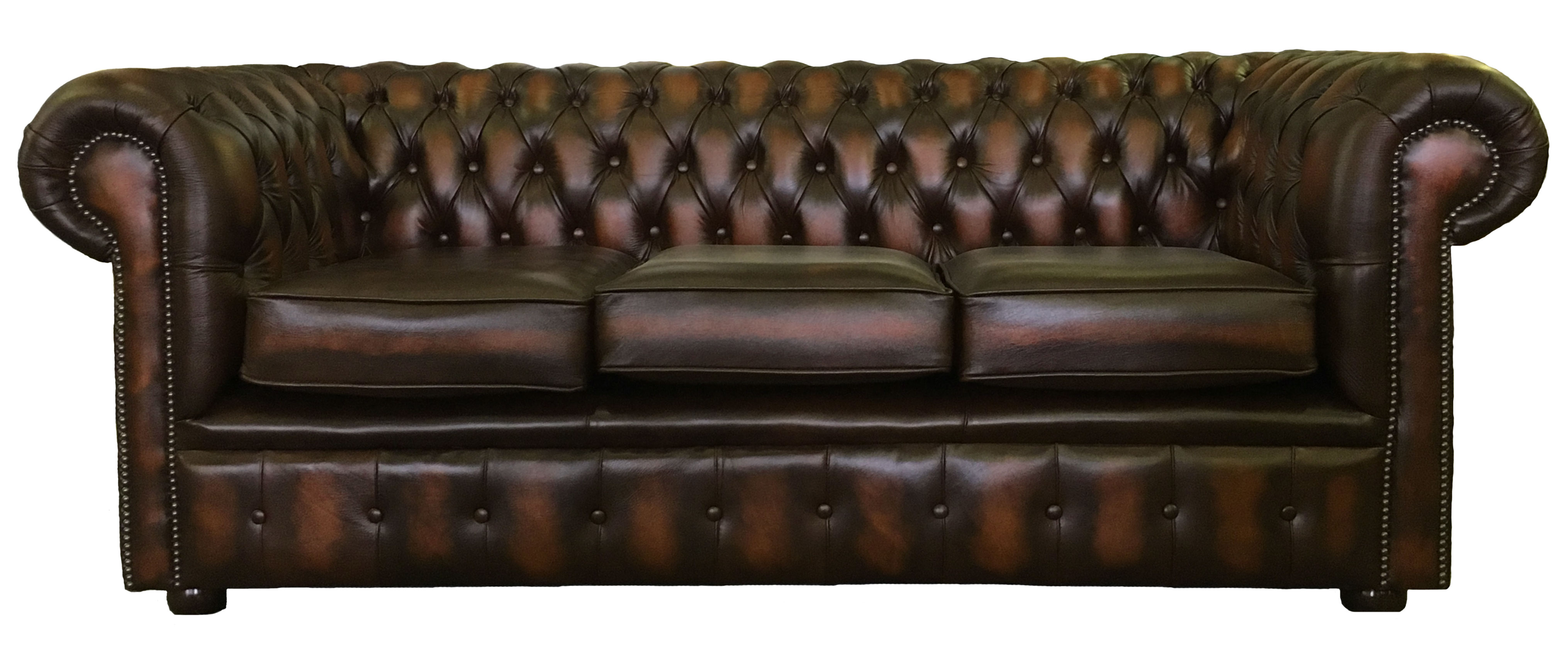 genuine leather chesterfield three seater two club armchair antique brown ebay. Black Bedroom Furniture Sets. Home Design Ideas