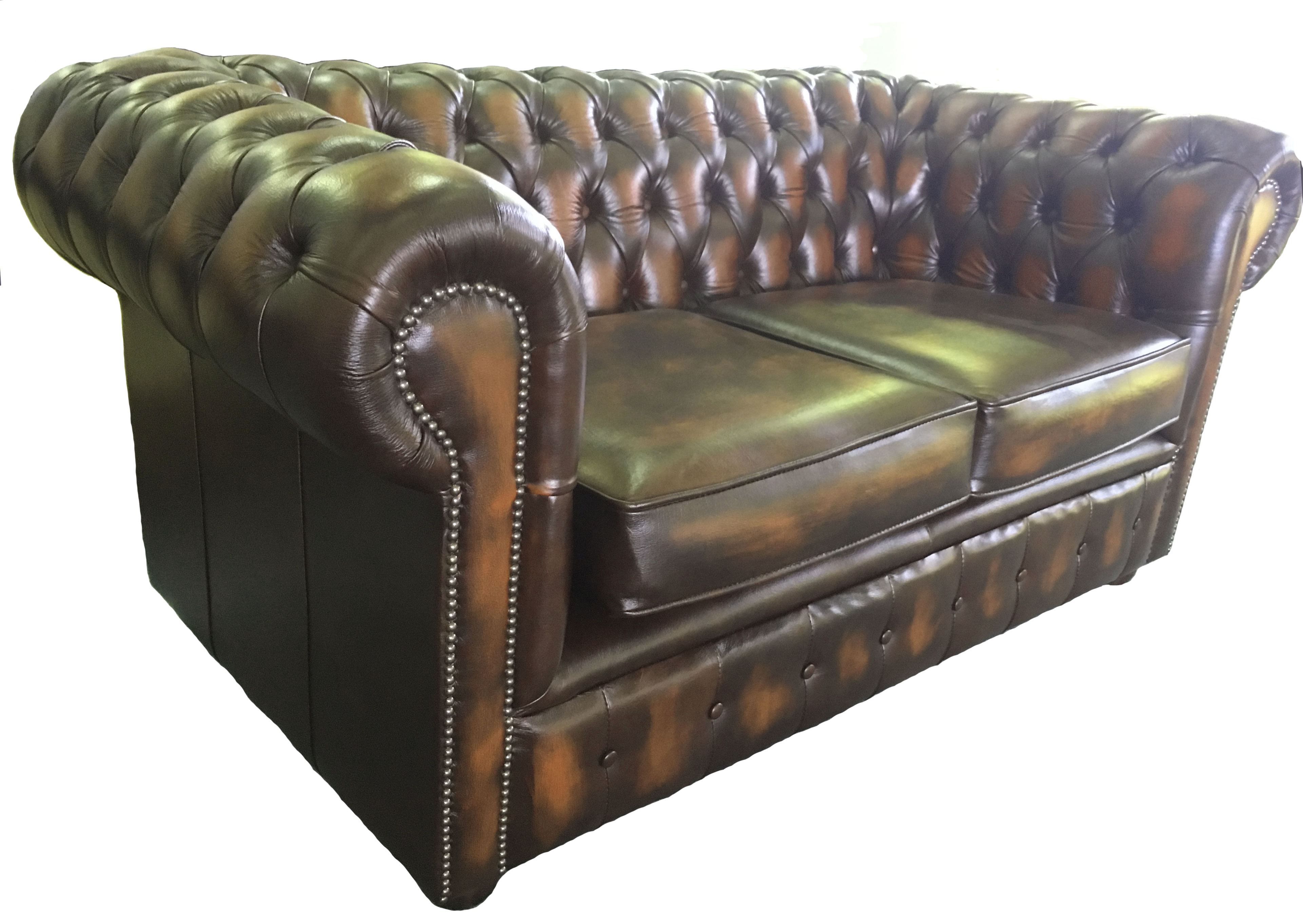 Antique Brown Chesterfield London 100% Genuine Leather Two ...