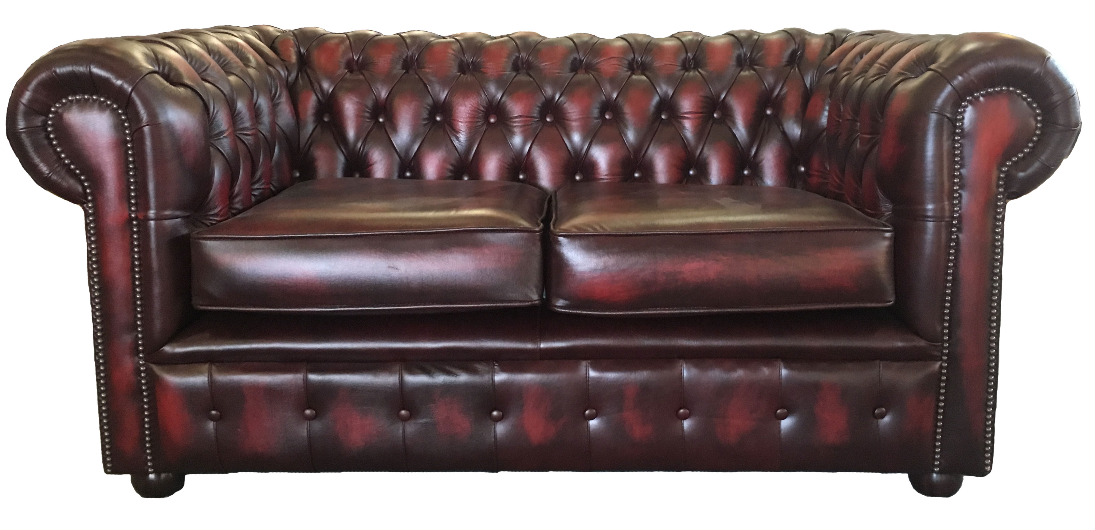 Genuine Leather Chesterfield Three Two Seater Sofa In Antique