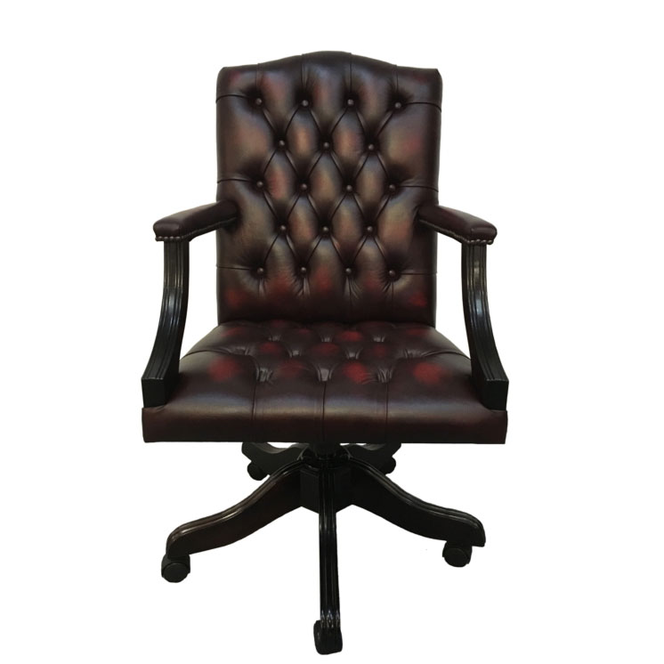 dd95597643c4 Details about Chesterfield Leather Gainsborough Antique Oxblood Red Swivel Office  Chair