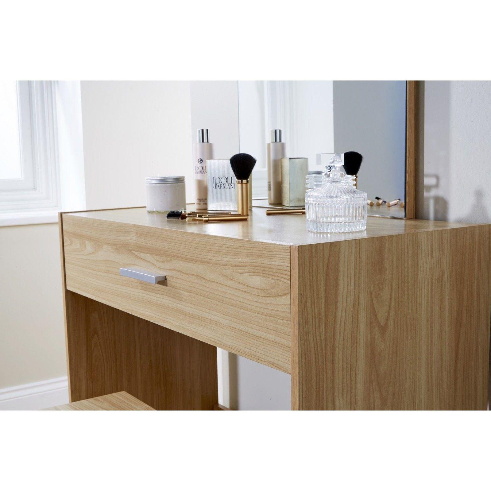 New makeup dressing table oak julia set w stool mirror for Oak makeup table