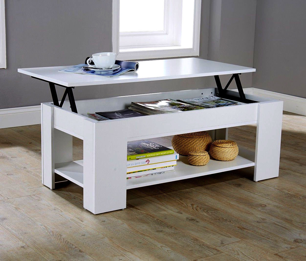 MODERN WHITE LIFT UP COFFEE TABLE CONTEMPORARY STORAGE