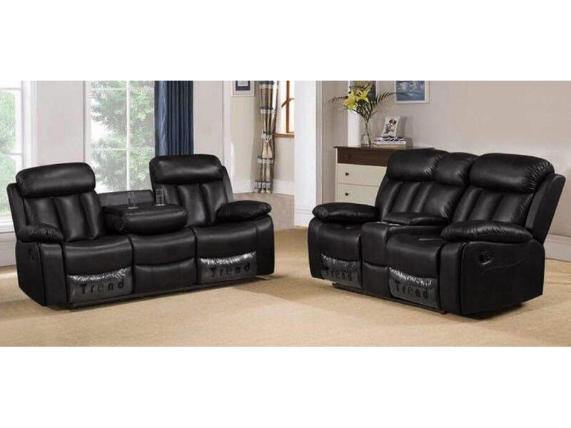 Details about Milano 3+2 Seater Black Leather Living Room Recliner Sofa Set