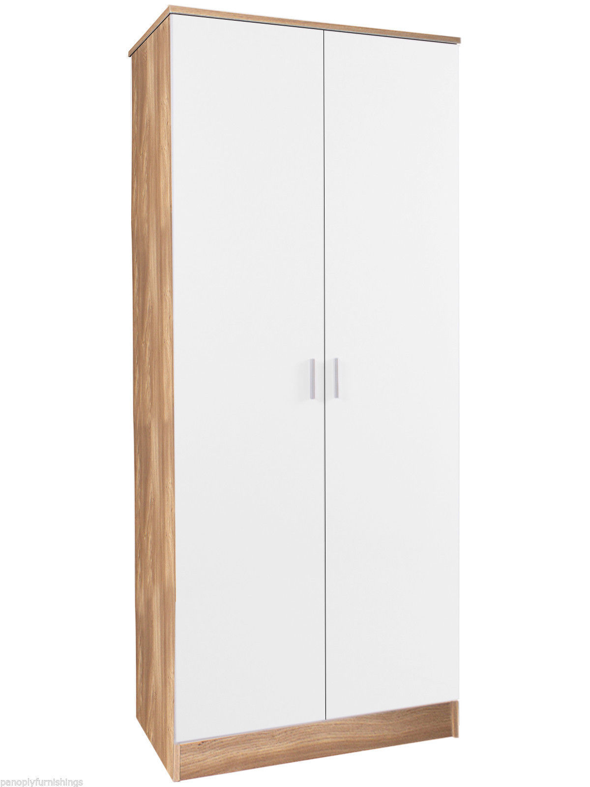 Ottawa 2 Door Wardrobe High Gloss White & Oak Frame Storage Bedroom ...