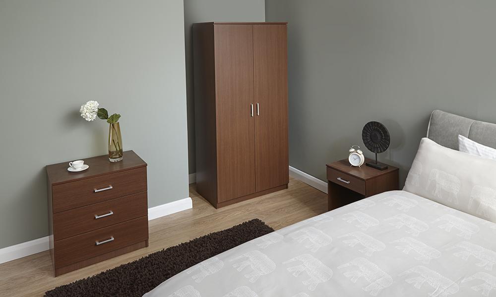 Panama walnut design bedroom furniture set wardrobe chest - Walnut bedroom furniture sets uk ...