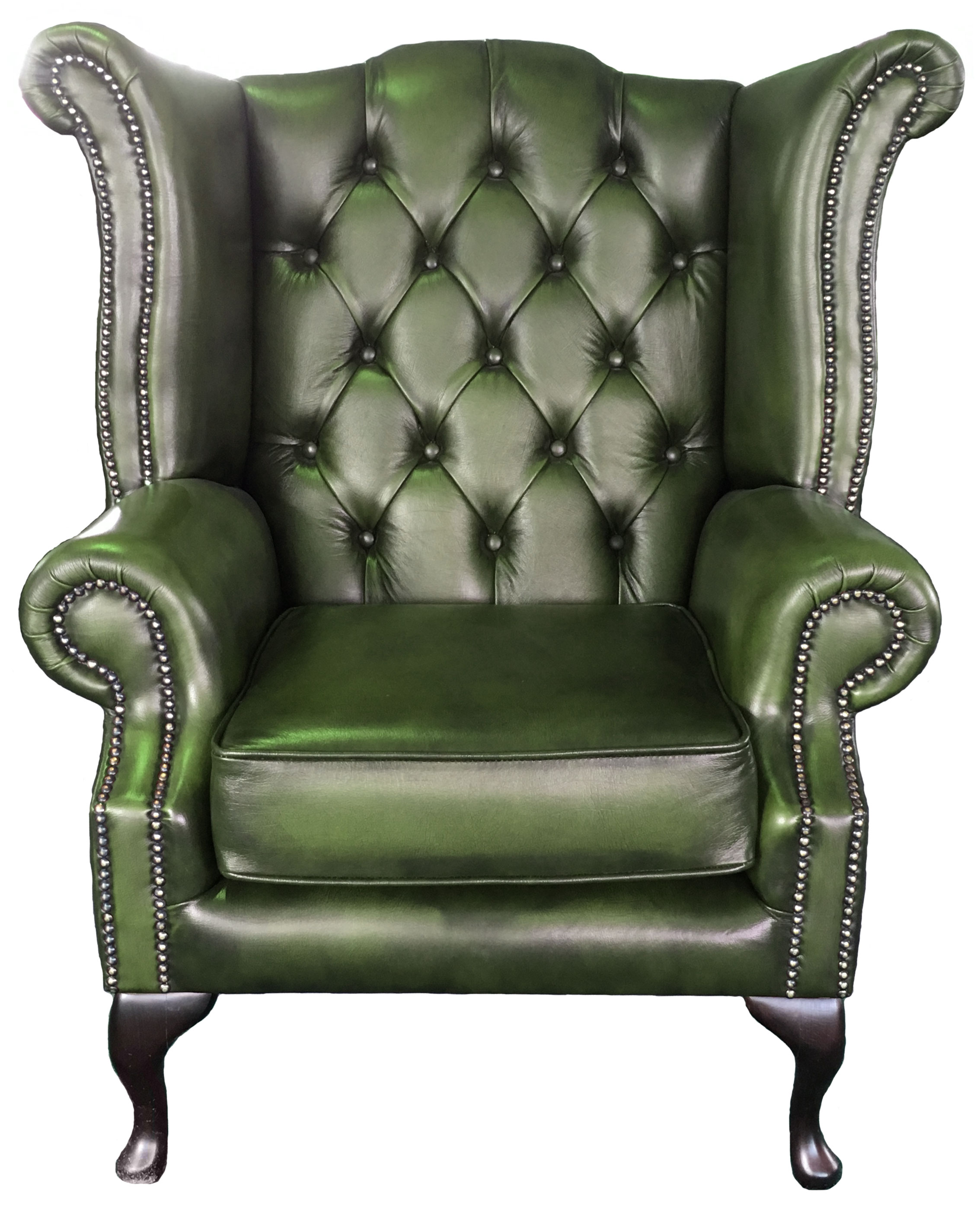 Chesterfield Armchair Queen Anne Hand Made Genuine Leather Antique