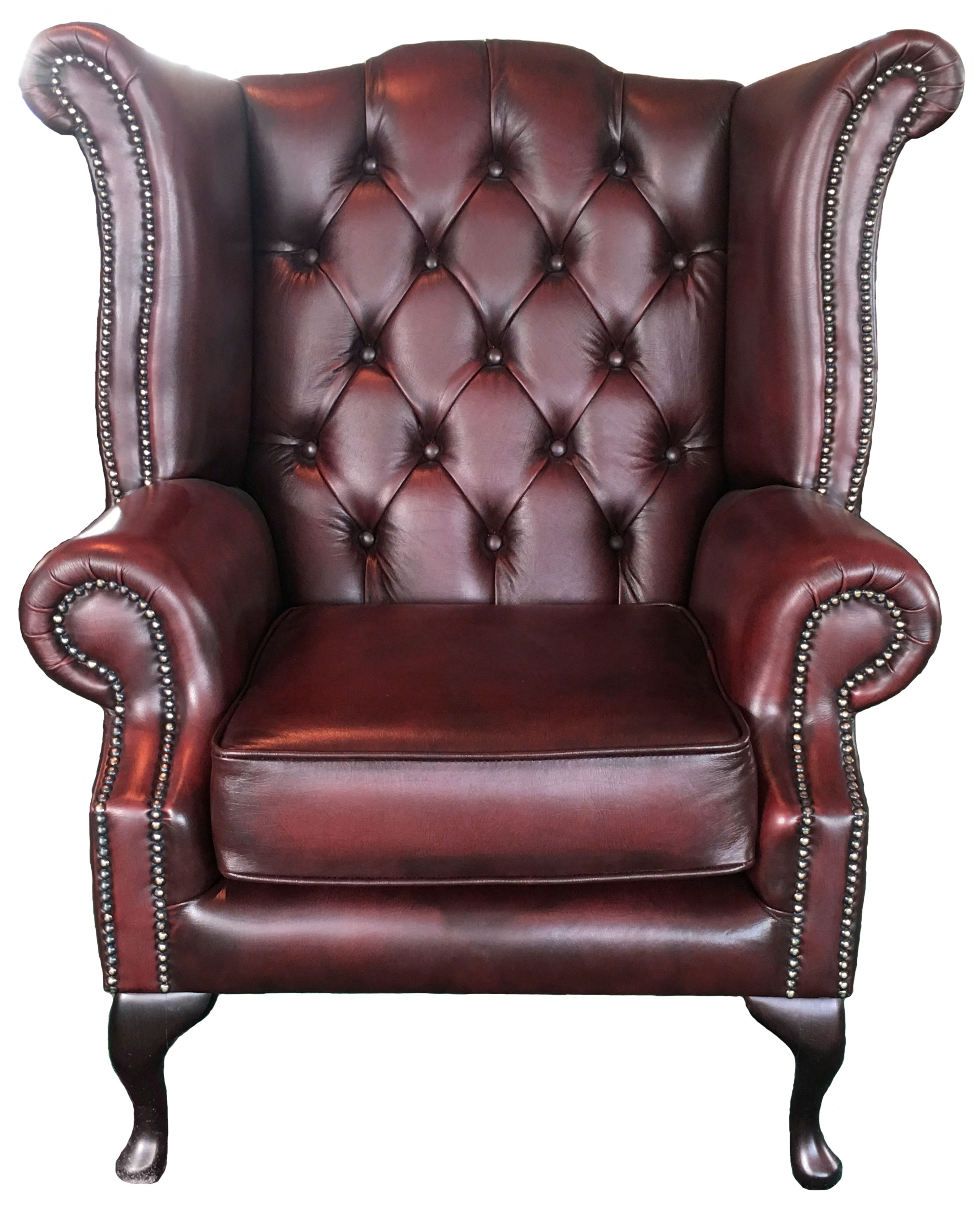 Chesterfield Queen Anne Armchair Antique Oxblood Red Genuine Leather Queen Anne Armchair T31