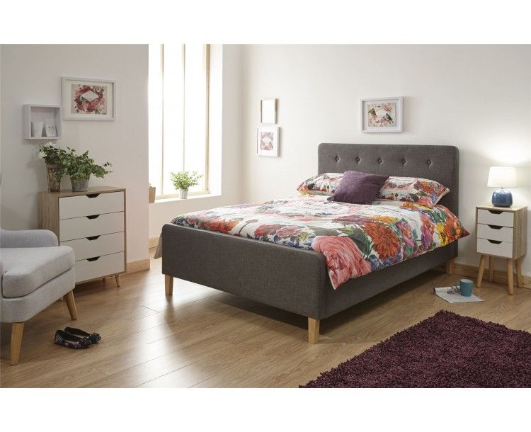 Ashbourne 4FT6 Double 135cm Ottoman Dark Grey Lift Up Storage Bed