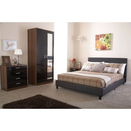 Brown Faux Leather 4ft Small Double 120cm Compact Bed In A Box Bed Frame