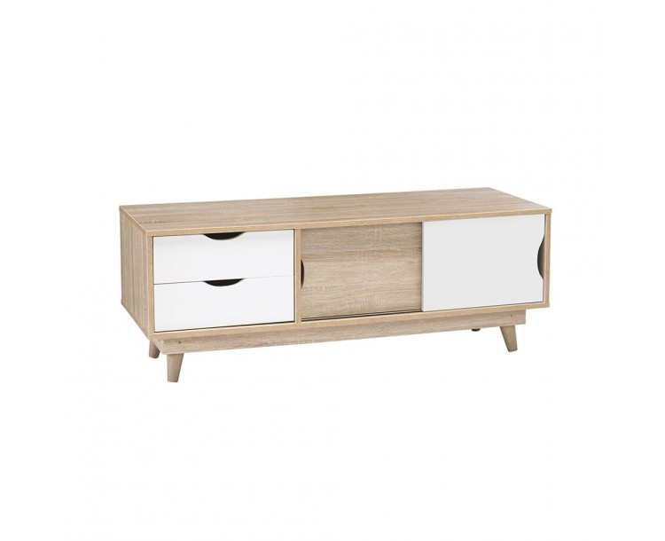 Scandi Oak White Compact TV Unit Living Room