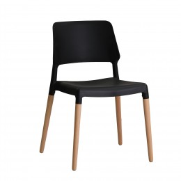Riva Black Minimal Design Chair Pack of 2