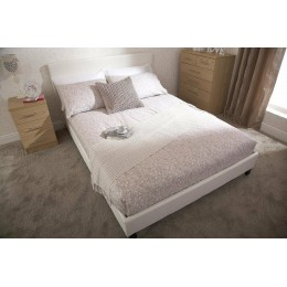 3ft Faux Leather Single Bed Frame with Headboard White