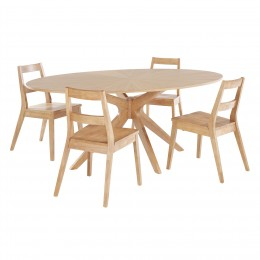 Malmo Solid White Oak Partial Veneer Dining Table