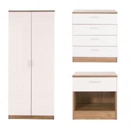 Ottawa 3 Piece Bedroom Set 2 Door Wardrobe 4 Drawer Chest Bedside Cabinet Oak