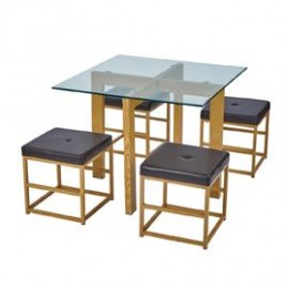 Cube Brown Glass Top Dining Set