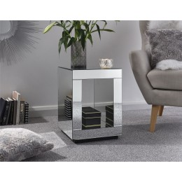 Contemporary Clear Glass Mirrored Capri Cube Lamp Table Living Room