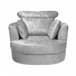 Bliss Crushed Velvet Silver Fabric Large Swivel Armchair