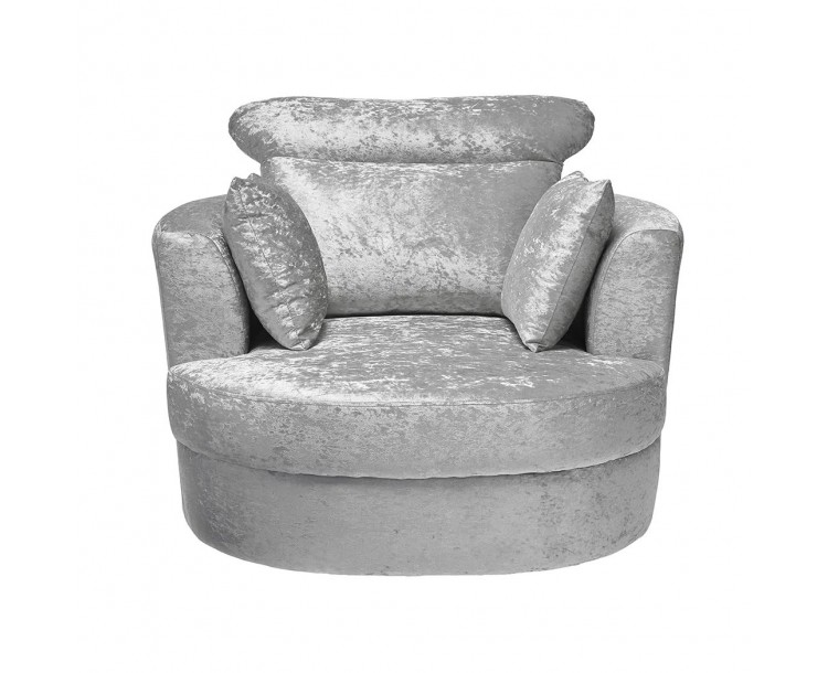 Bliss Crushed Velvet Silver Fabric Large Swivel Armchair