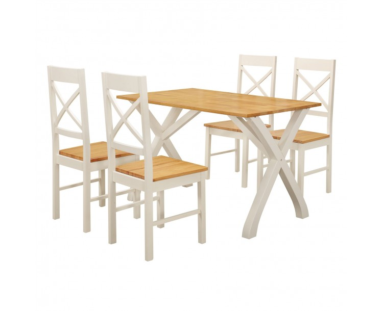 Normandy White Traditional Wood Dining Set