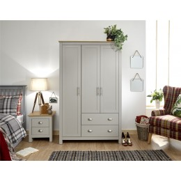 Lancaster 3 Door 2 Drawer Wardrobe Bedroom Furniture Grey