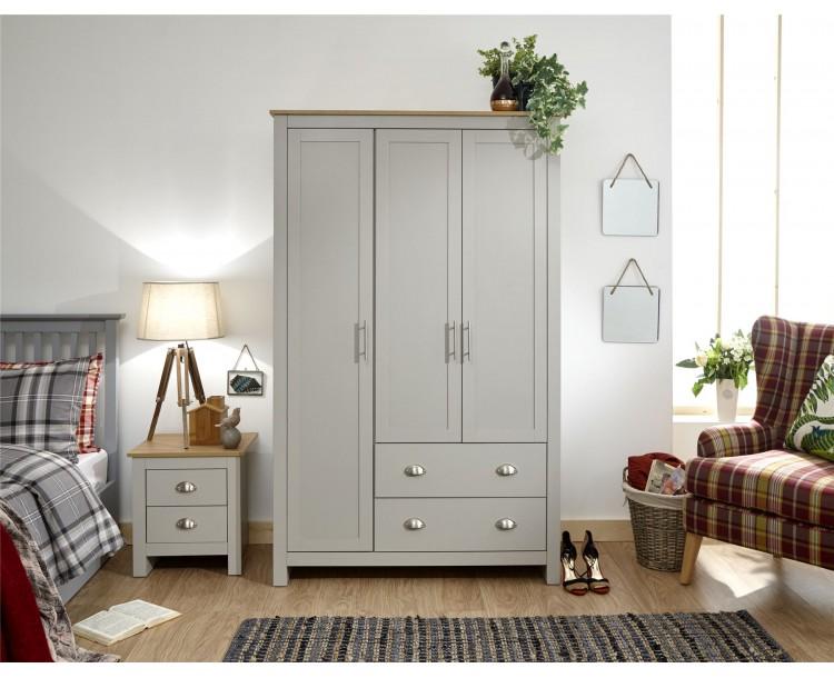 Lancaster 3 Door 2 Drawer Wardrobe Bedroom Furniture Grey