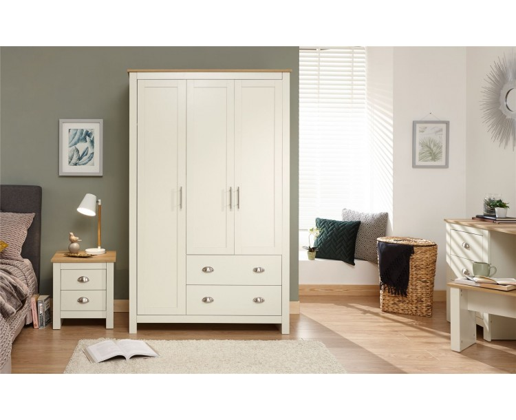 Lancaster 3 Door 2 Drawer Wardrobe Bedroom Furniture Cream