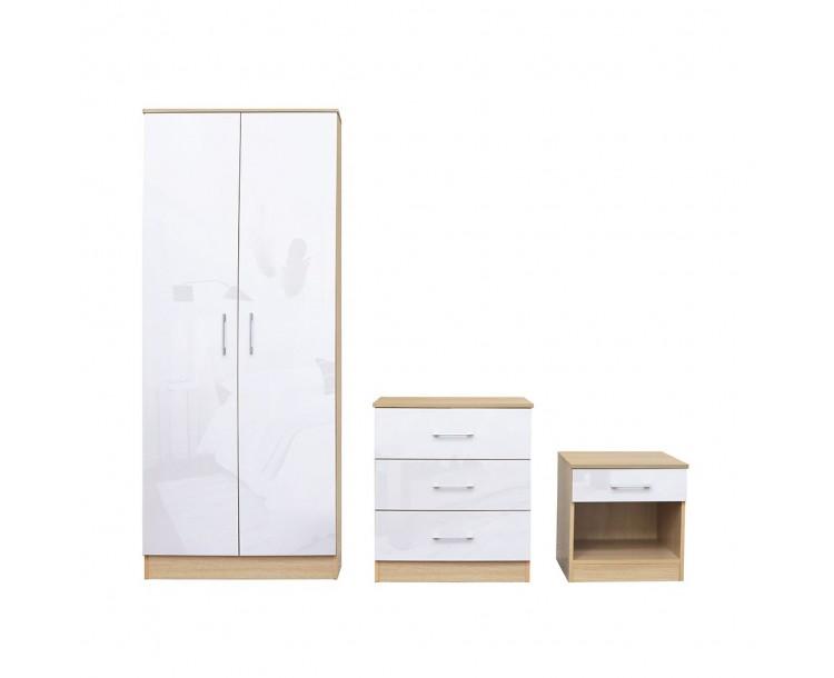 Dakota White Bedroom Set 2 Door Wardrobe 3 1 Draw Chest