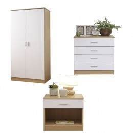Melbourne 3 Piece Bedroom Set 2 Door Wardrobe 4 Drawer Chest Bedside White/Oak