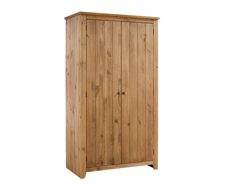 Havana Pine Aztec Wax Finish 2 Door Wardrobe
