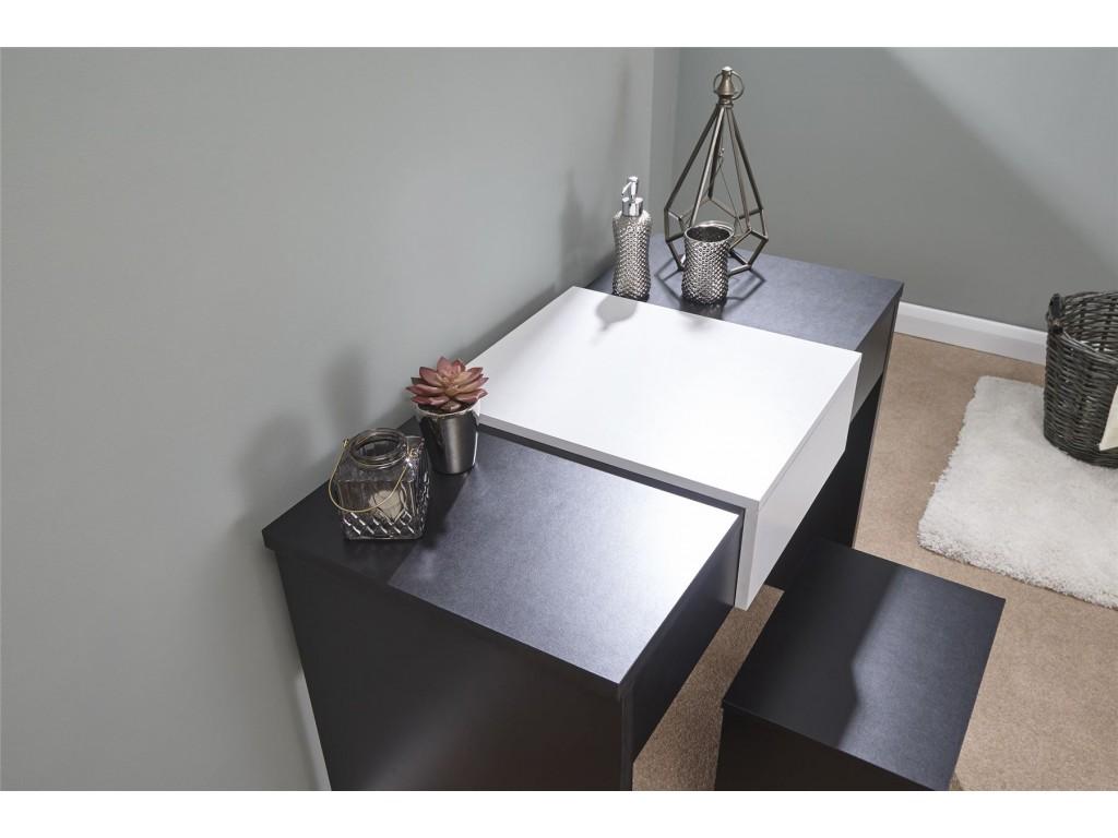 Marlow Black And White Mirror Storage Dressing Table Stool Set