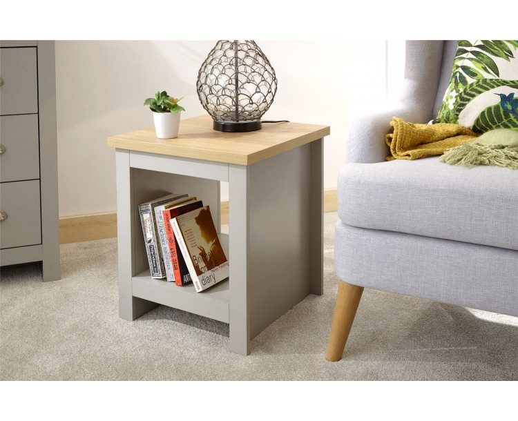 Lancaster Side end Lamp Table With Shelf Grey