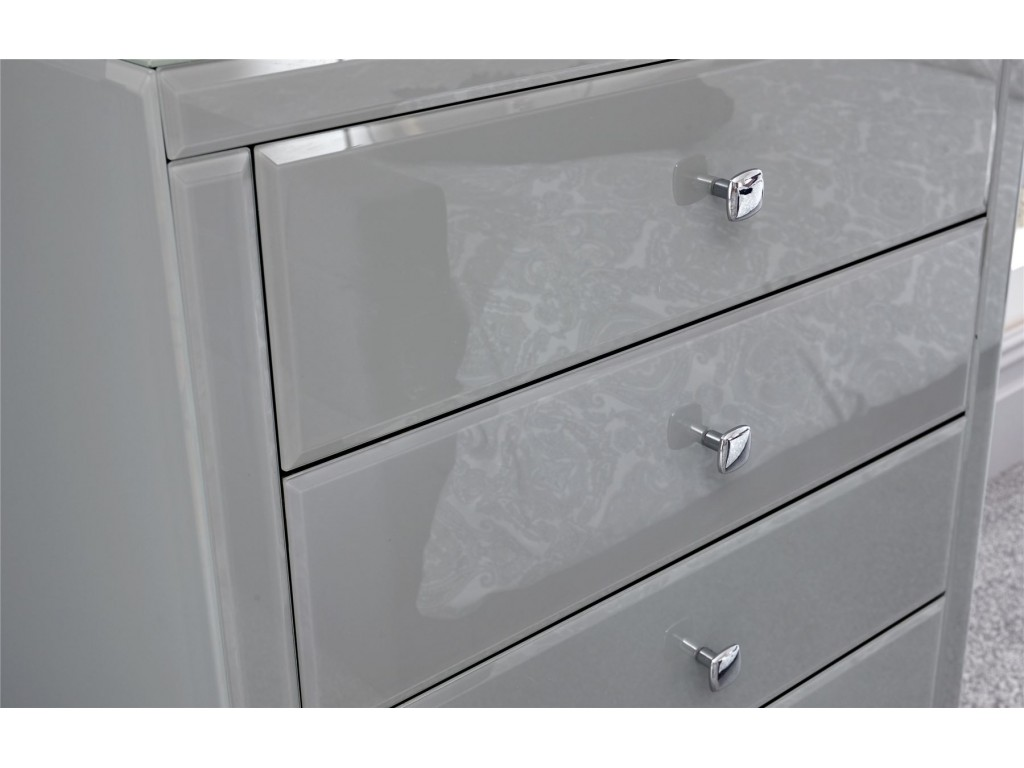Amalfi Grey Painted Glass 5 Drawer Tallboy Chest Of Drawers