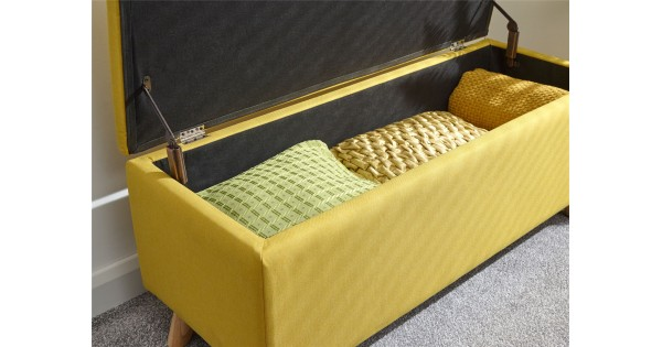 Secreto Mustard Hopsack Fabric Lift Up Storage Ottoman Bench