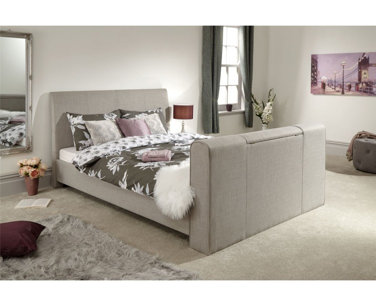 Brooklyn 5ft Kingsize 150cm Pneumatic TV Bed Bedframe Light Grey