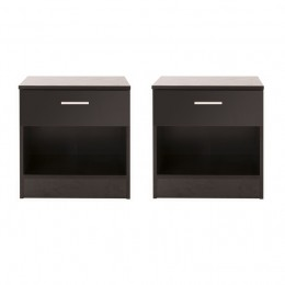Pair of Ottawa Black Bedside Table Cabinet