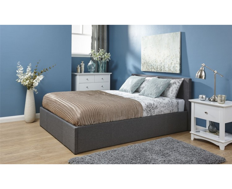Grey Hopsack Fabric 4ft6 Double 135cm End Lift Ottoman Bed Frame