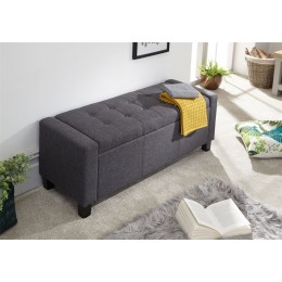 Charcoal Grey Fabric Verona Ottoman Storage Bench Box