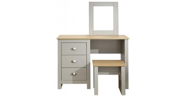 Lancaster Grey With Oak Top 3 Drawer Dressing Table Stool Set