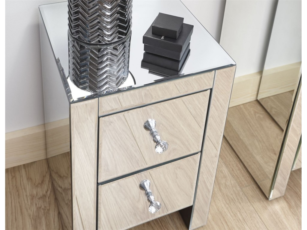 Contemporary Mirrored Clear Glass 2 Drawer Slim Bedroom Chest