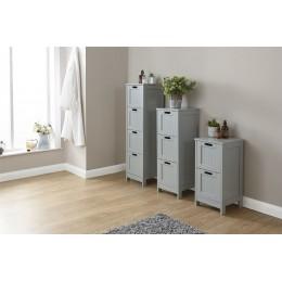 Grey Colonial MDF 2 Drawer Bathroom Slim Chest Storage Unit