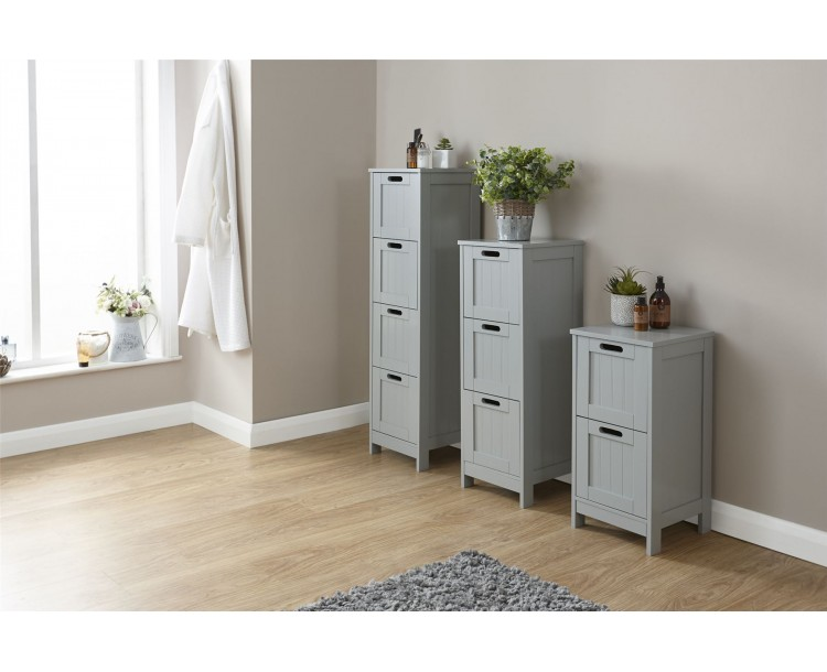 Grey Colonial MDF 2 Drawer Bathroom Slim Chest Storage Unit