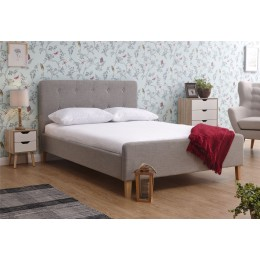 Light Grey Hopsack Fabric Ashbourne 5ft Kingsize 150CM Bed