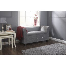 Verona Diamante Grey Chenille Lift Up Storage Window Seat