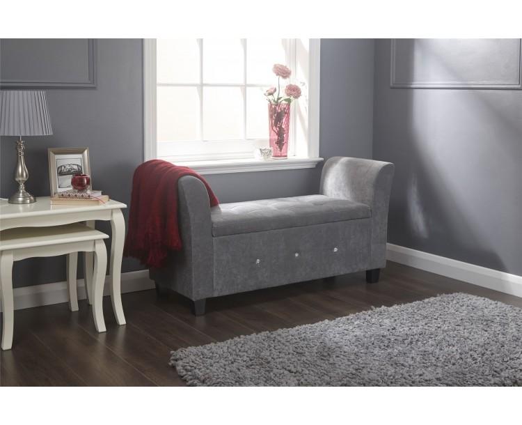 Verona Diamante Grey Chenille Lift Up Storage Window Seat
