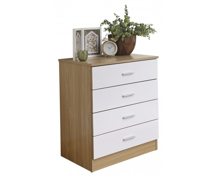Melbourne 4 Drawer Chest Bedroom Furniture White   Oak