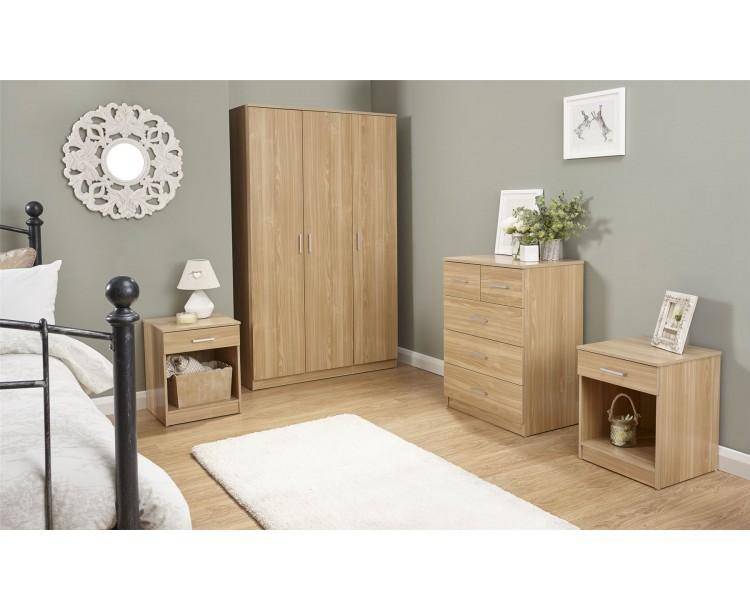 Panama 4 Piece Oak Bedroom Furniture Set Wardrobe Chest of Drawers Bedside