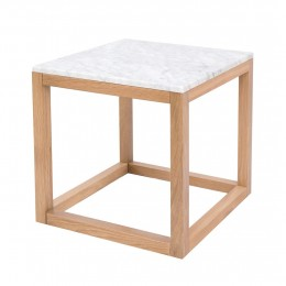 Harlow End Table Oak-White Marble Top
