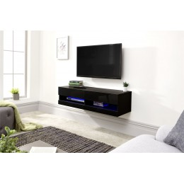 Black Galicia 120cm Wall TV Unit With LED Light Living Room