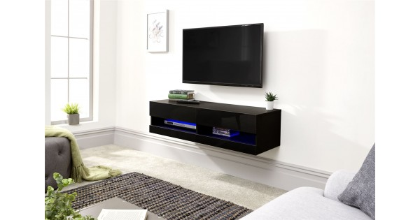 Black Galicia Living Room 120cm Wall Tv Unit With Led Light